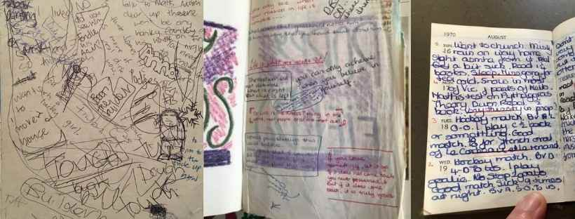 Group of old student diaries scrawled in