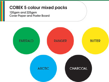 Cobek 5 Colour Mixed Pack 225gsm