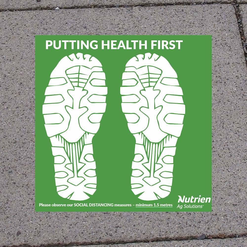 Floor Decal Stickers for Social Distancing Custom Nutrien-Roberts