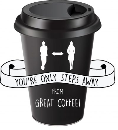 Coffee Cup Floor Decal Social Distancing
