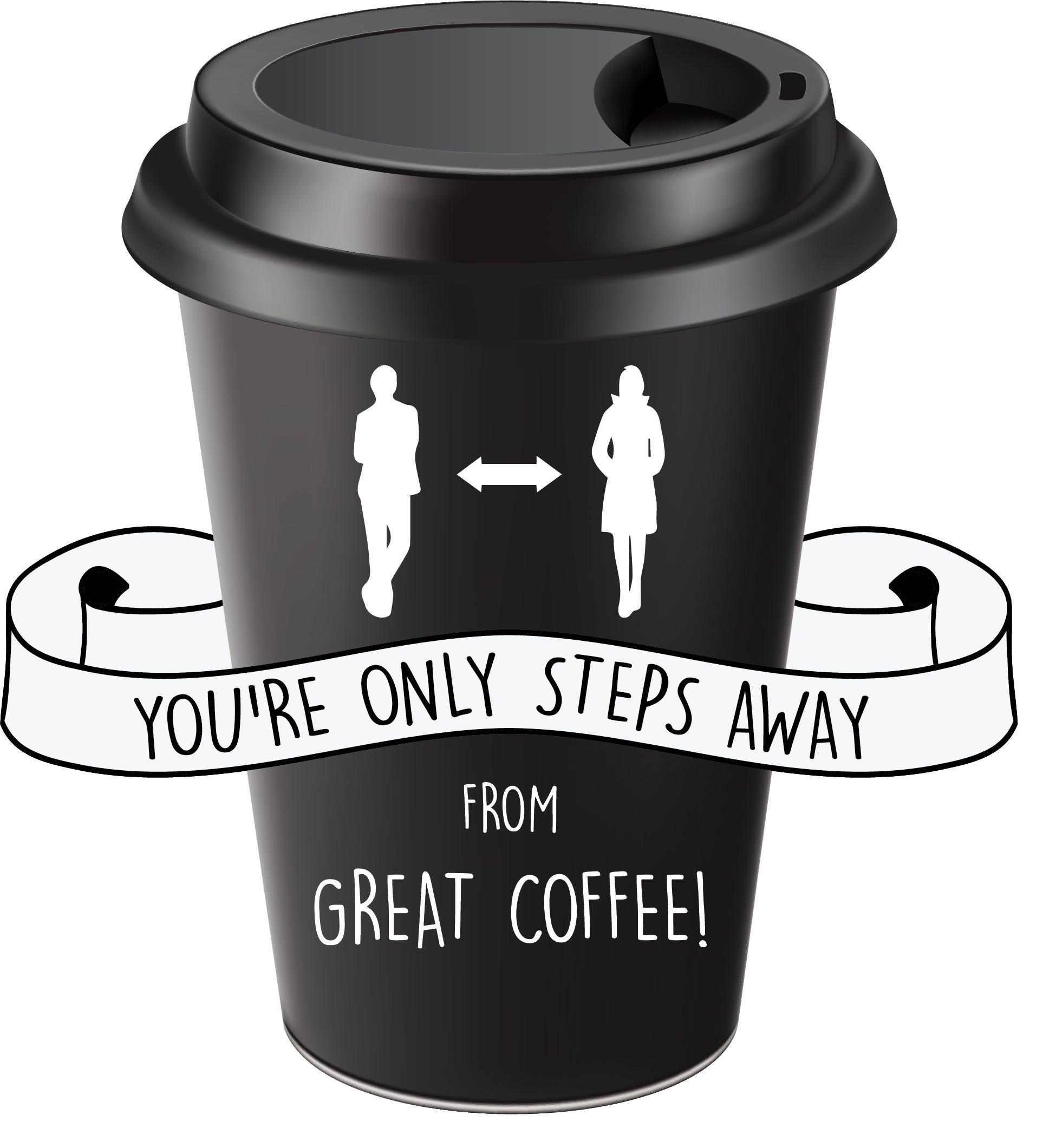 Coffee Cup Floor Decal Social Distancing