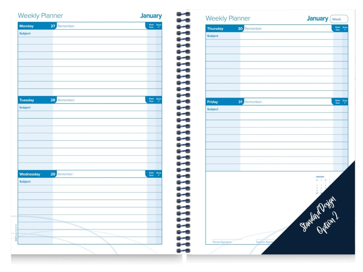 Student Planner Generic Calendar Insert Week to 2 pages