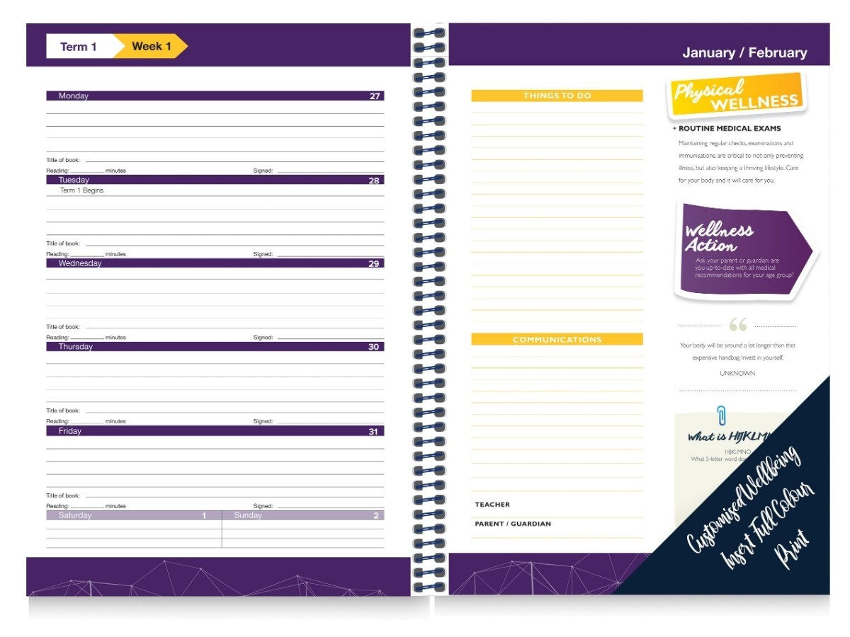 Custom Wellness School Diary