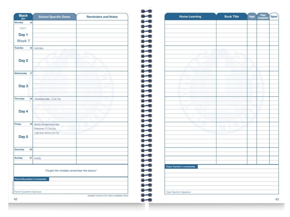 School Diary Calendar Inserts 2