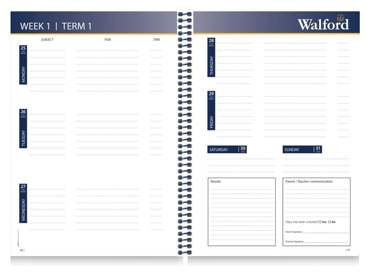 School Diary Calendar Inserts 3