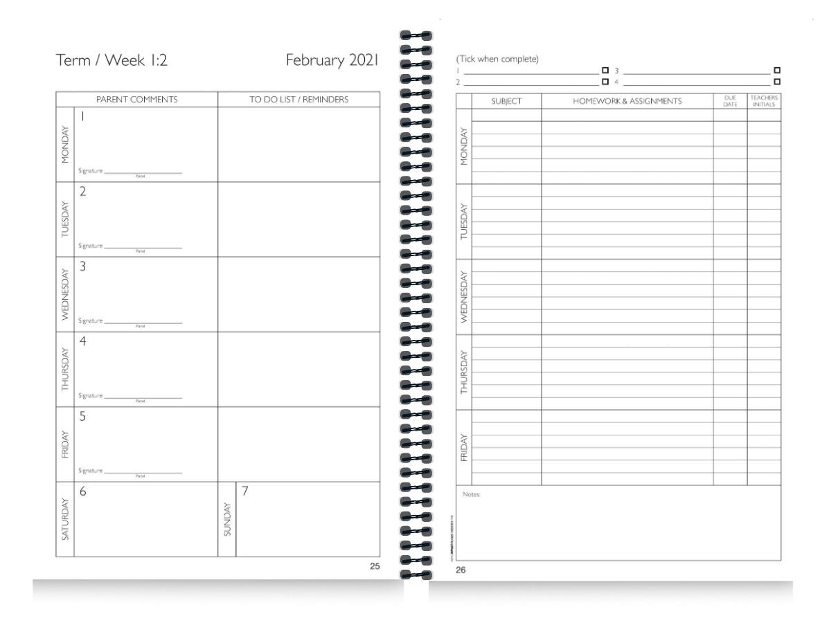 School Diary Calendar Inserts 4