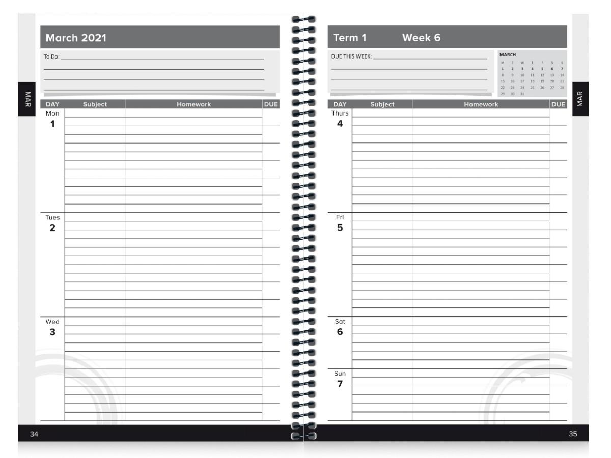 School Diary Calendar Inserts 5