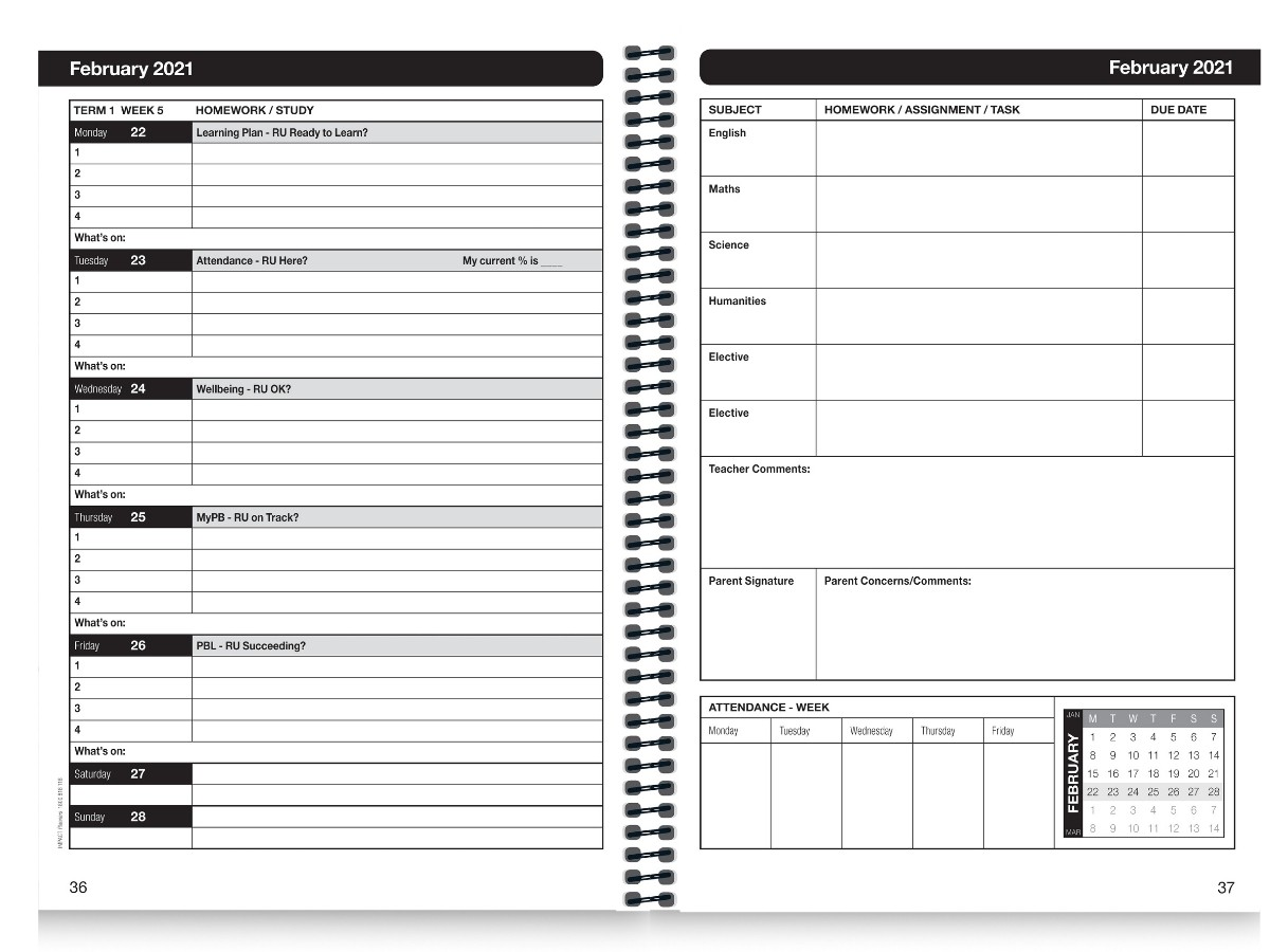 School Diary Calendar Inserts 7