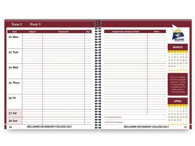 School Diary Calendar Inserts 8