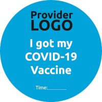 Custom Covid Vaccine Sticker with Time Slot Blue