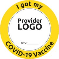 Custom Covid Vaccine Sticker with Time Slot Yellow