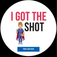 I got the shot Covid sticker custom branded