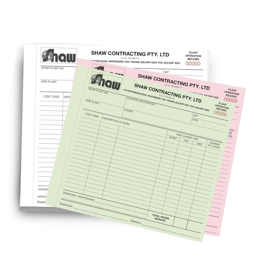 Custom Carbon Copy Book
