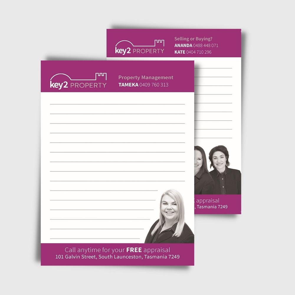 Customised A7 Note pads for real estate