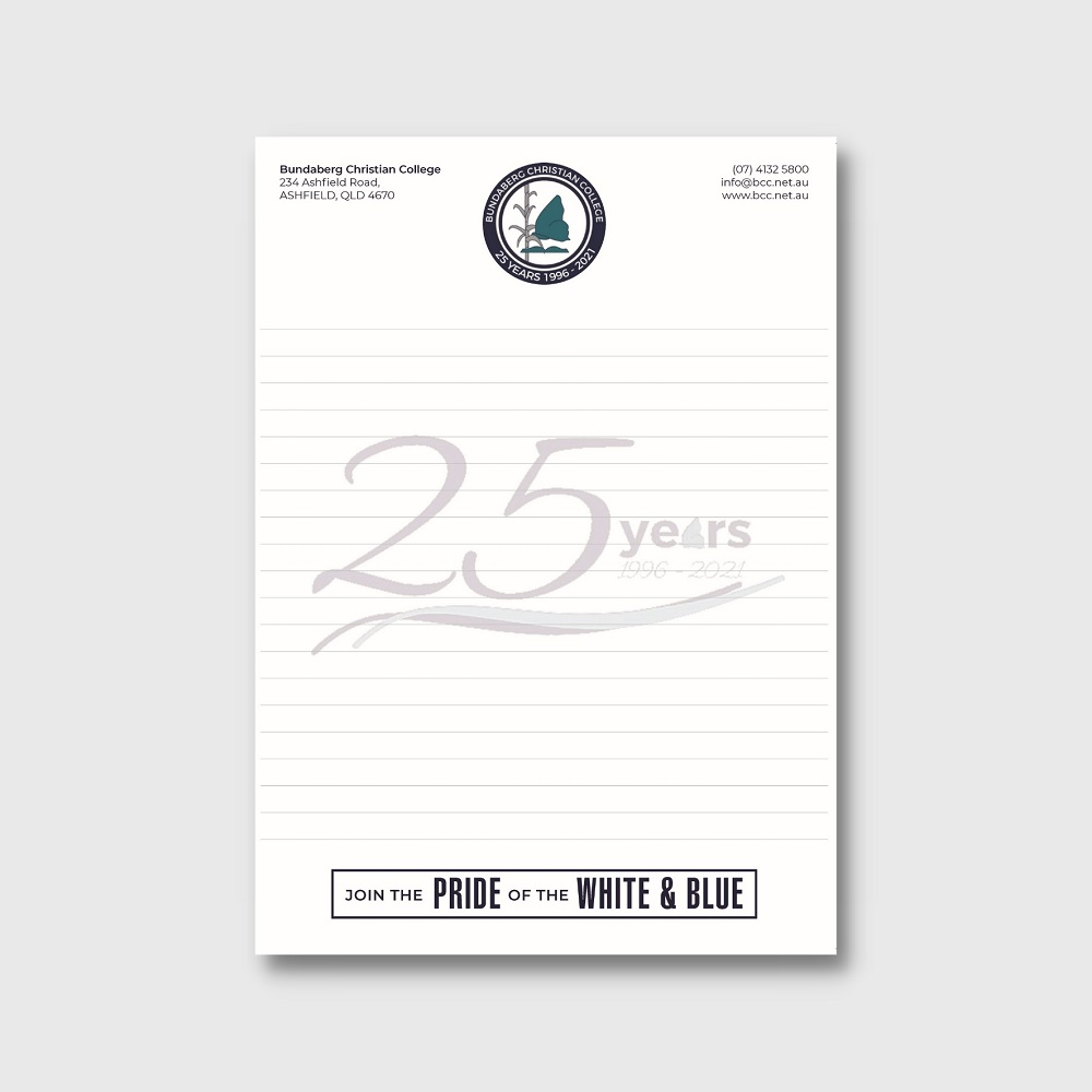 Custom School Notepad Bundaberg Christian School