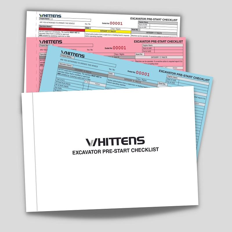 Custom NCR Books Whittens Pre Start Checklist Carbon Books
